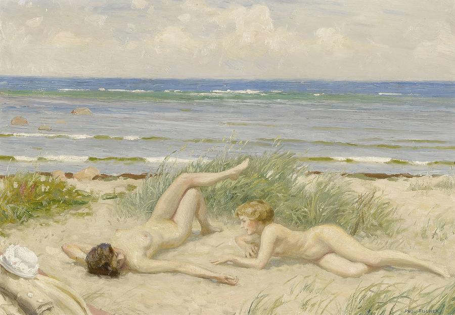 Girls On The Beach  Bstad  by Paul Fischer