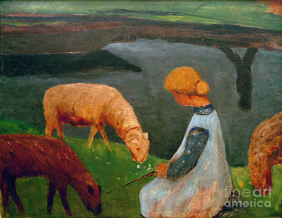 Girls Sitting by a Pond with Sheep by Paula Modersohn-Becker