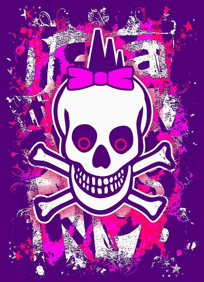 Girly Punk Skull Graphic by Roseanne Jones