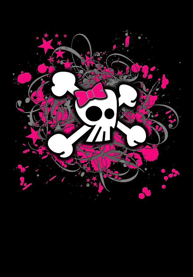 Girly Skull Crossbones Graphic by Roseanne Jones