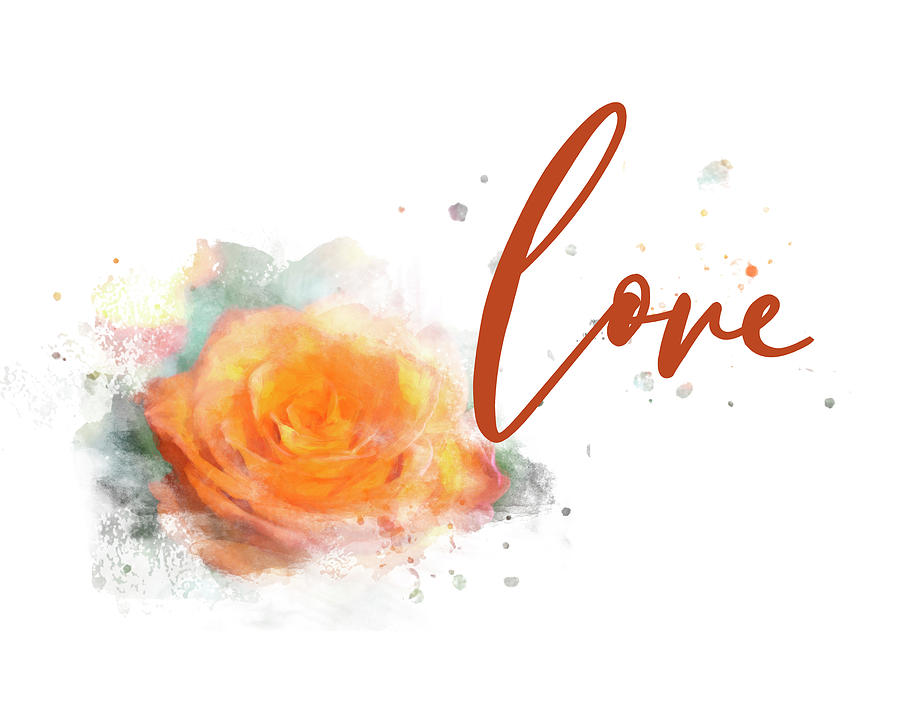 Girly Wall Art, Burnt Orange Rose Love Watercolor by Whitney Leigh Carlson