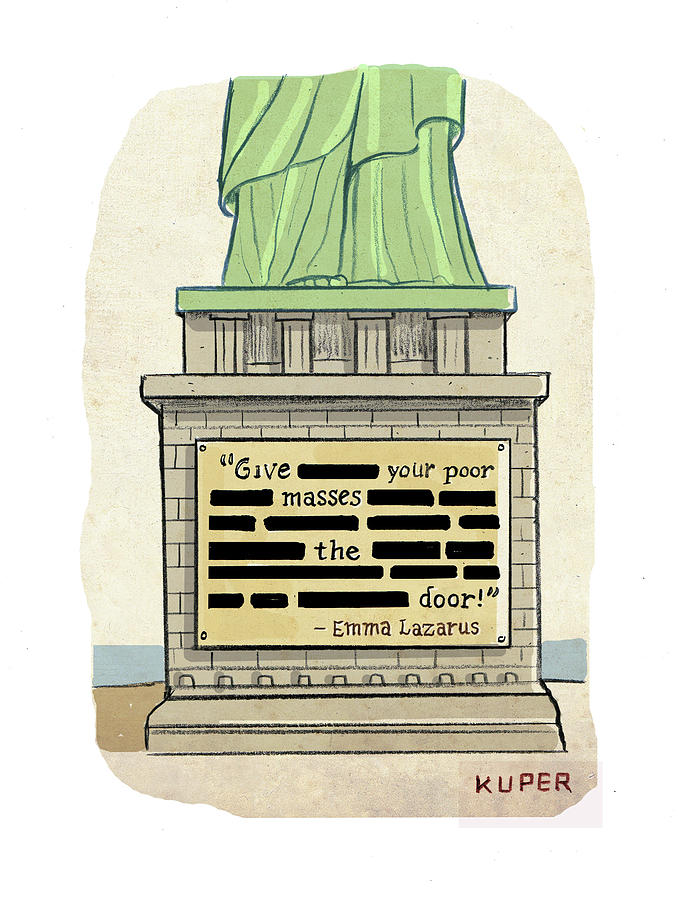 Statue Of Liberty Drawing - Give Your Poor Masses The Door by Peter Kuper