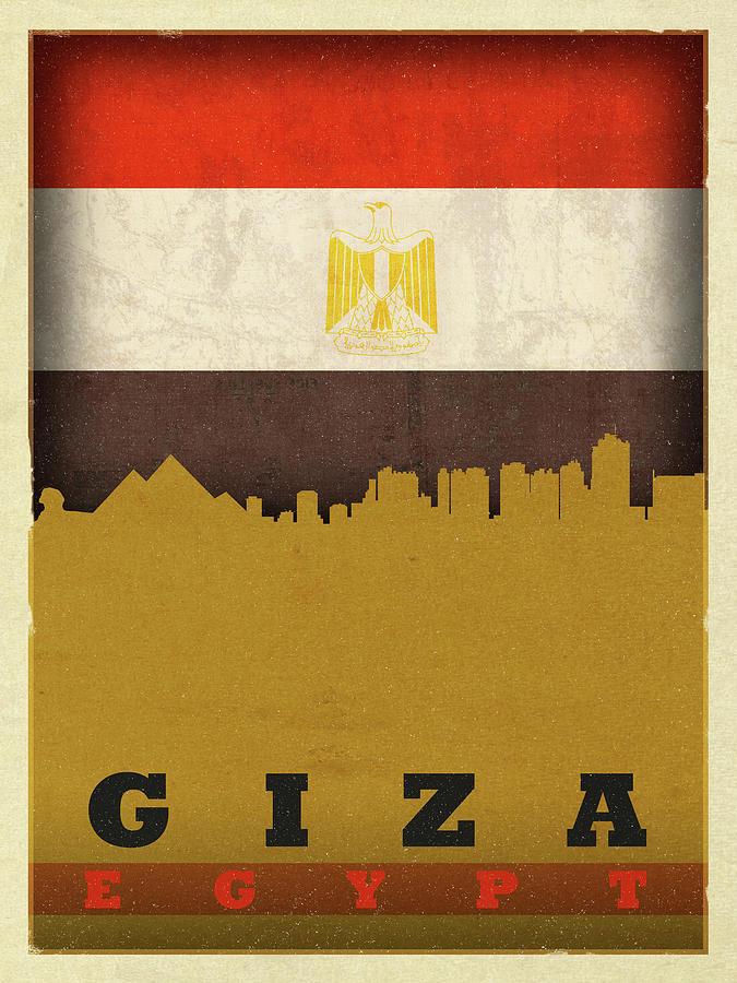 Giza Mixed Media - Giza Egypt World City Flag Skyline by Design Turnpike