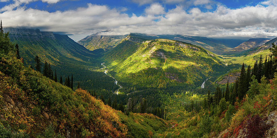 Glacial Valley in Montana's Glacier National Park by John Hight