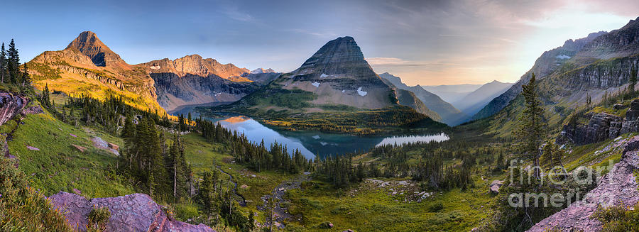 Glacier Hidden Lake Sunset Panorama by Adam Jewell