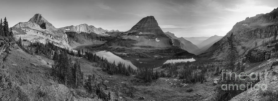 Glacier Hidden Lake Sunset Panorama Black And White by Adam Jewell