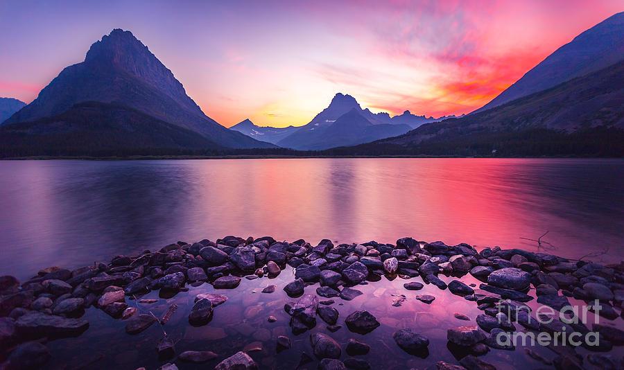 Sunset Photograph - Glacier National Park by Larry Mcmillian