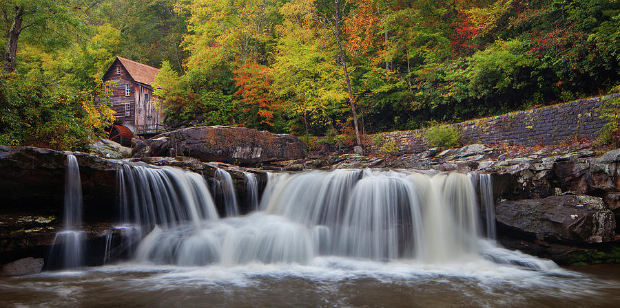 Glade Creek Grist Mill and Cascade by Dennis Sprinkle