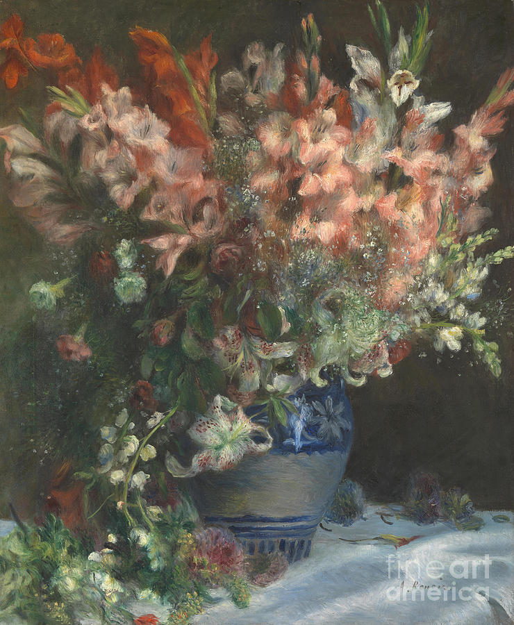 Gladioli In A Vase, C. 1875. Artist Drawing by Heritage Images