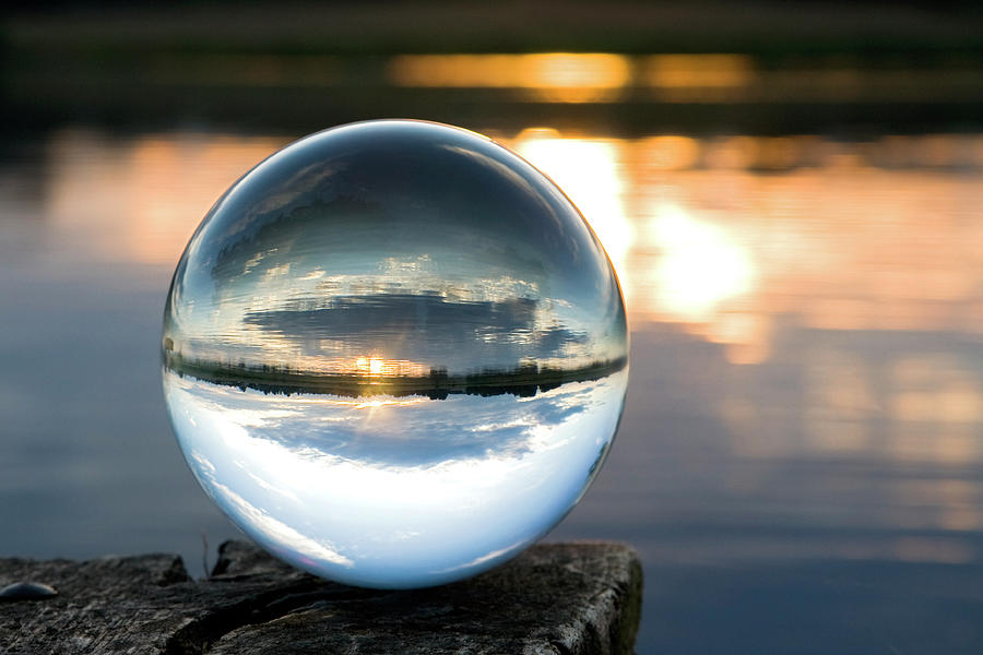 Glass Ball At Sunset Photograph by Diephosi