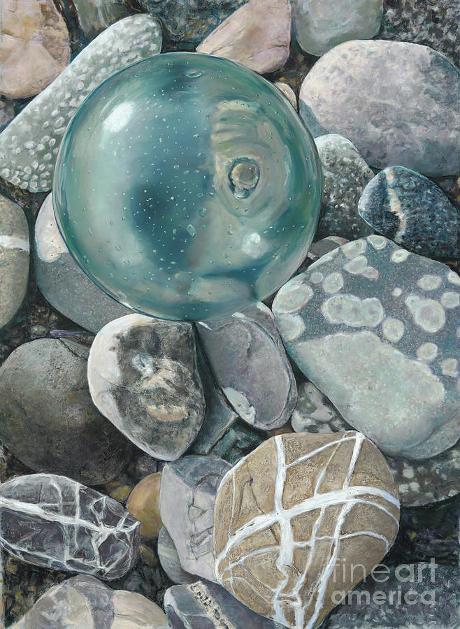 Glass Float and Beach Rocks by Nick Payne
