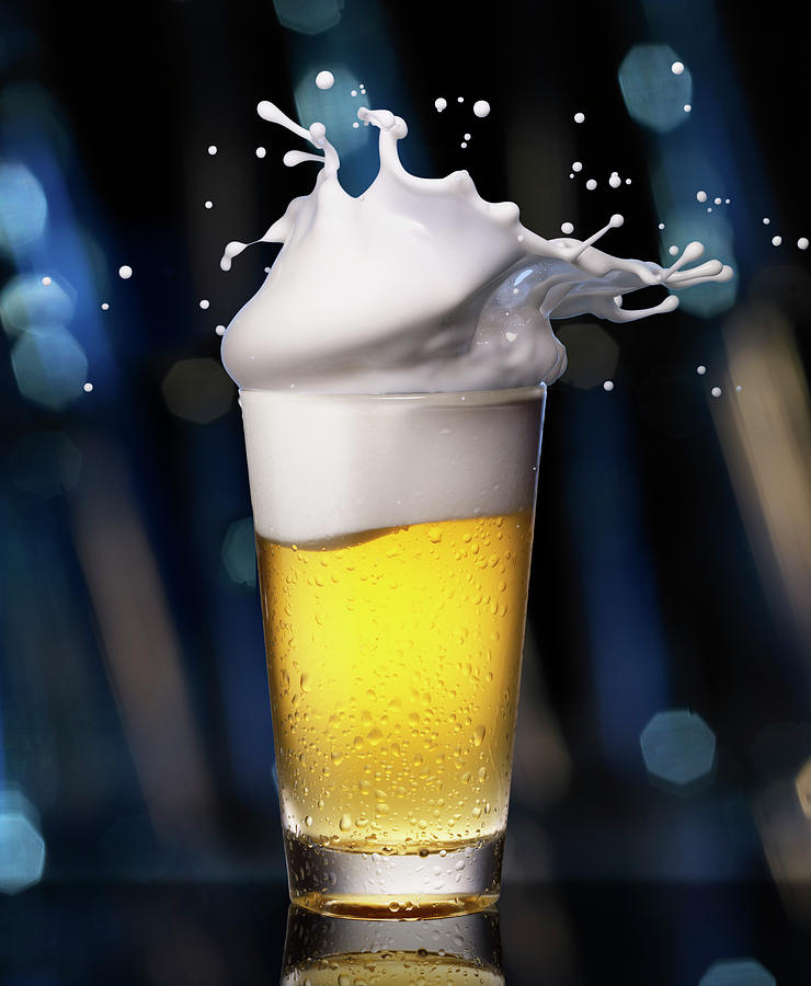 Glass Of Beer With Splashing Foam Photograph by Jack Andersen