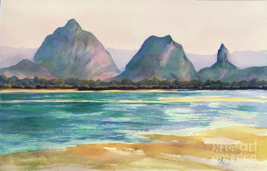 Glasshouse mountains from Bribie Island Queensland Painting by Chris Hobel