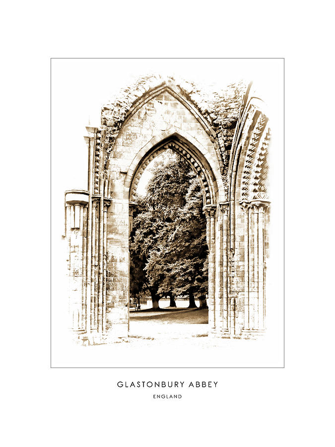 Glastonbury Abbey - England - Travel Poster by Menega Sabidussi