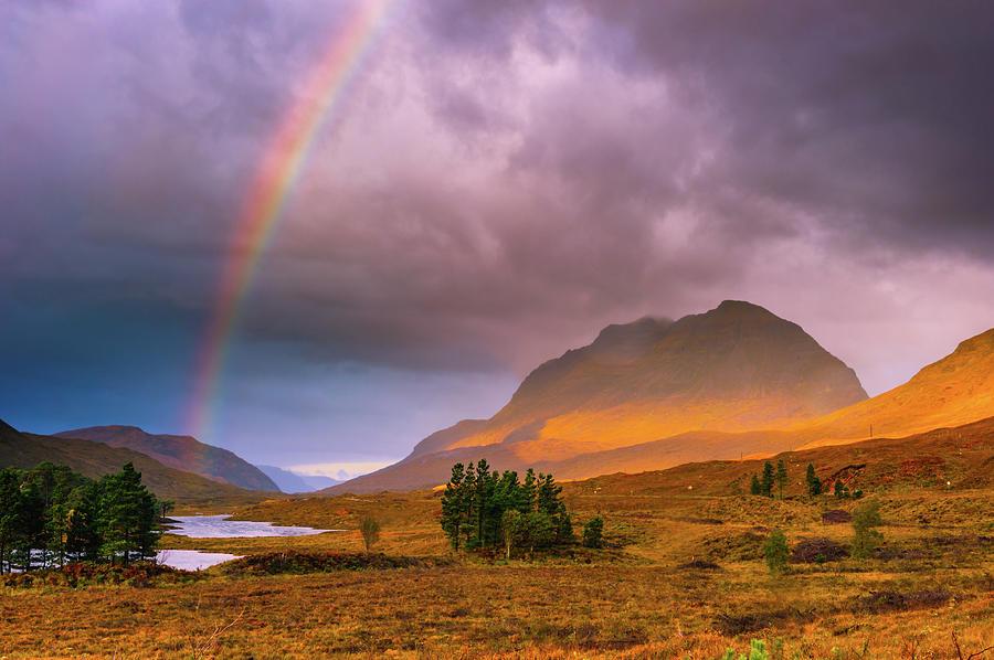Britain Photograph - Glen Torridon rainbow by David Ross