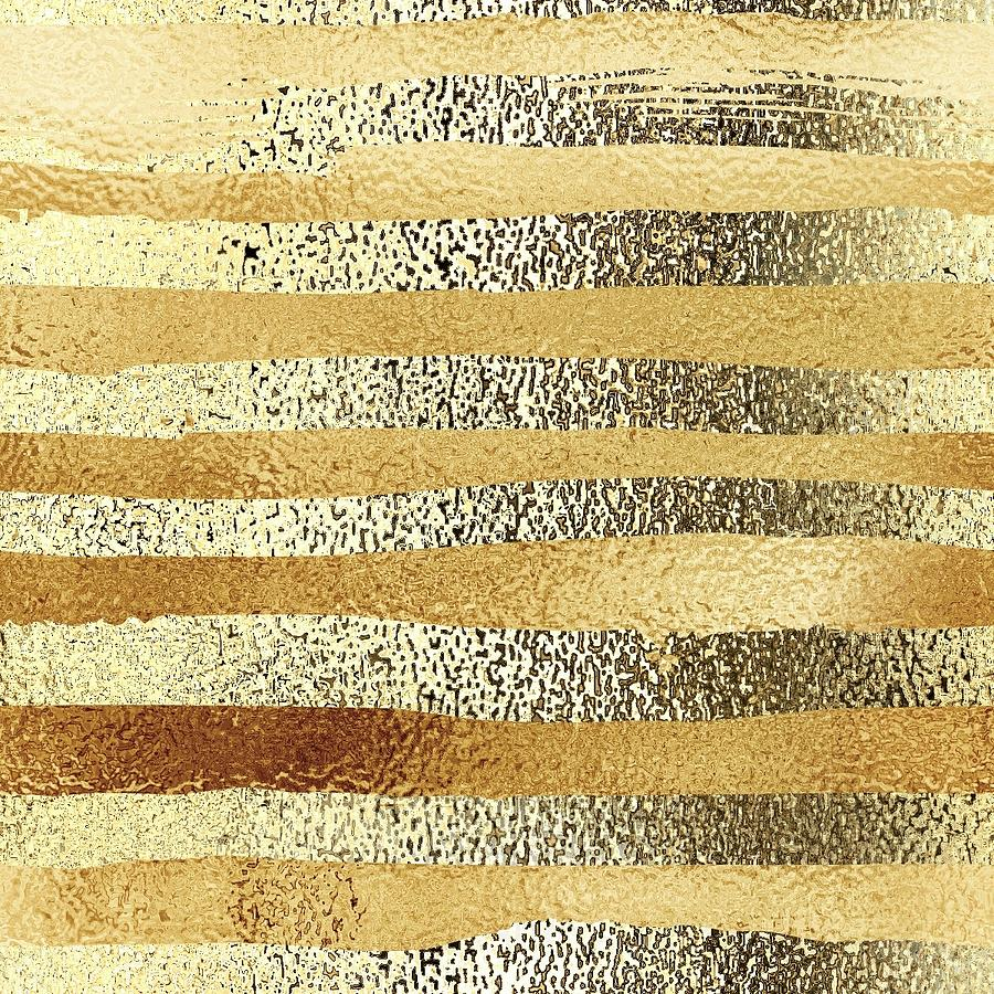 Glitter Gold Stripes Scrapbooking Paper Digital Art By Jared Austin