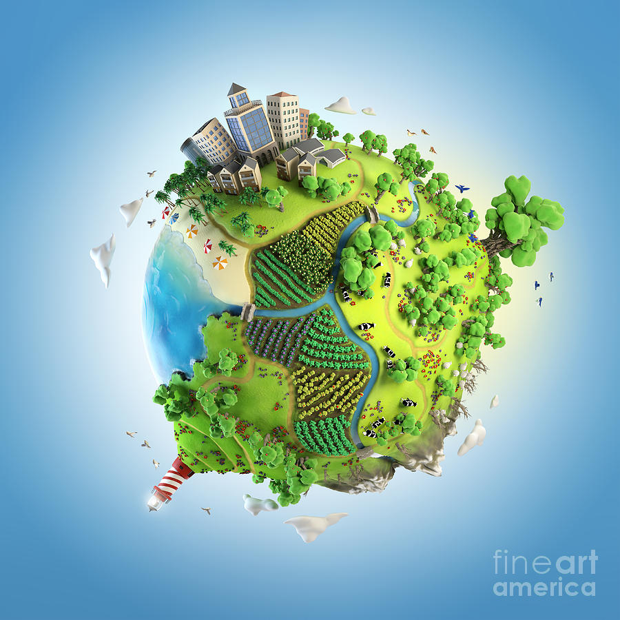3d Model Photograph - Globe Concept Showing A Green, Peaceful by Pablo Scapinachis