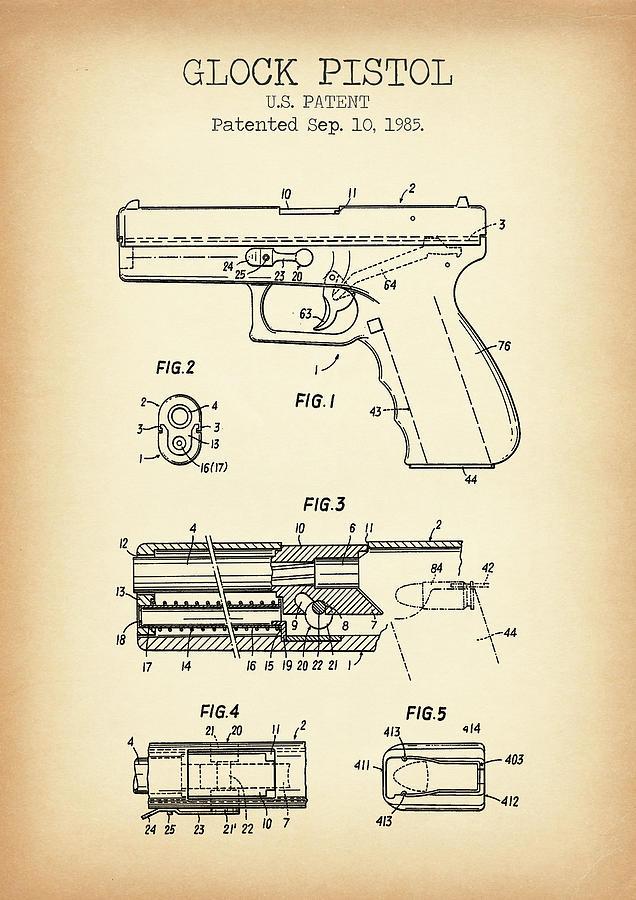 Glock 17 Gun Patent Print Black