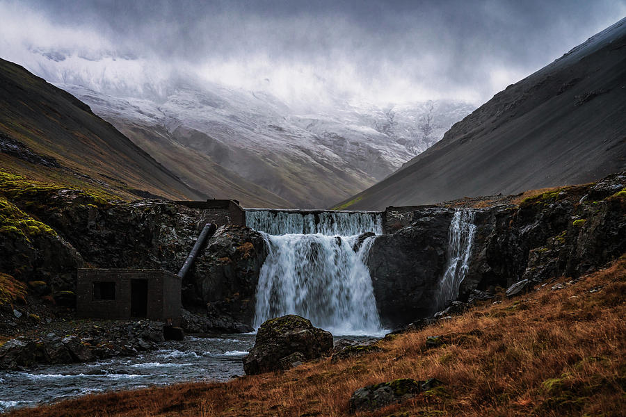 Iceland Photograph - Gloomy Waterfall by Framing Places