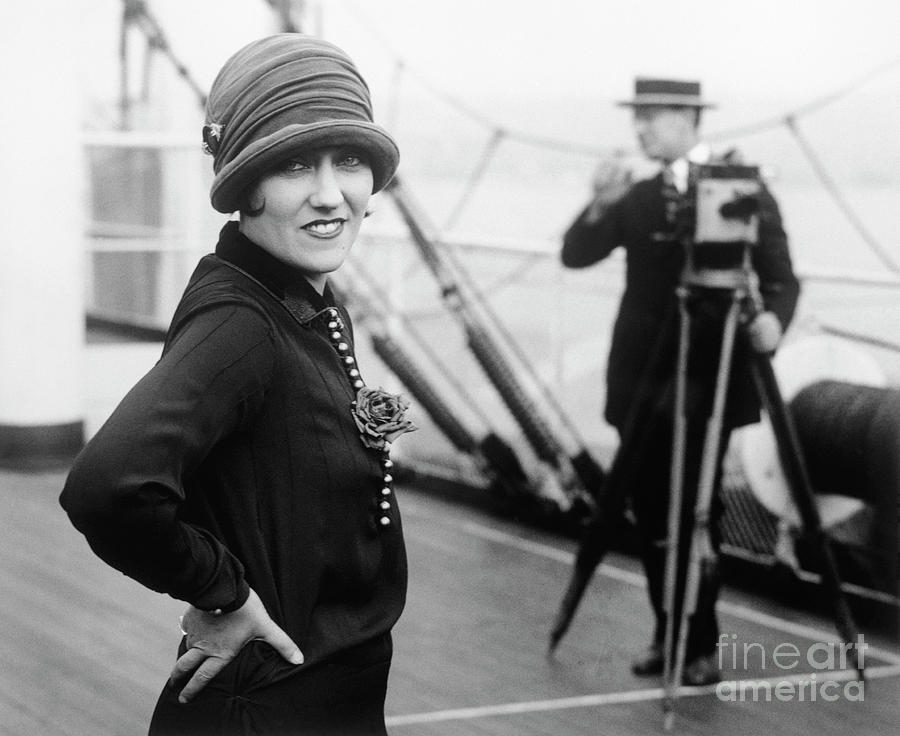 Gloria Swanson Aboard On Cruise Ship Photograph by Bettmann