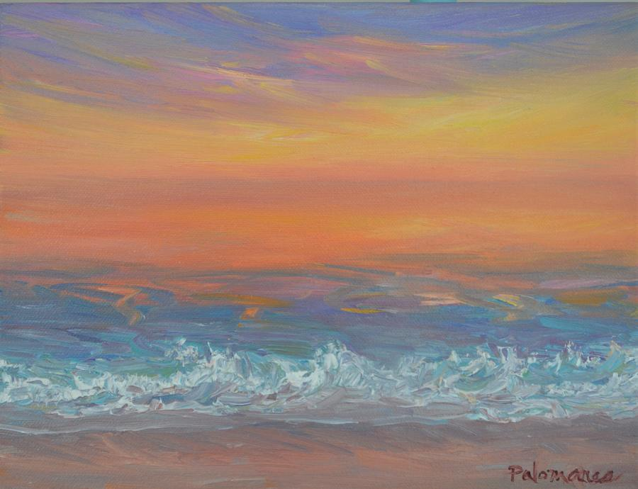 Glory Tropical Sunset Beach Seascape Painting by Amber Palomares