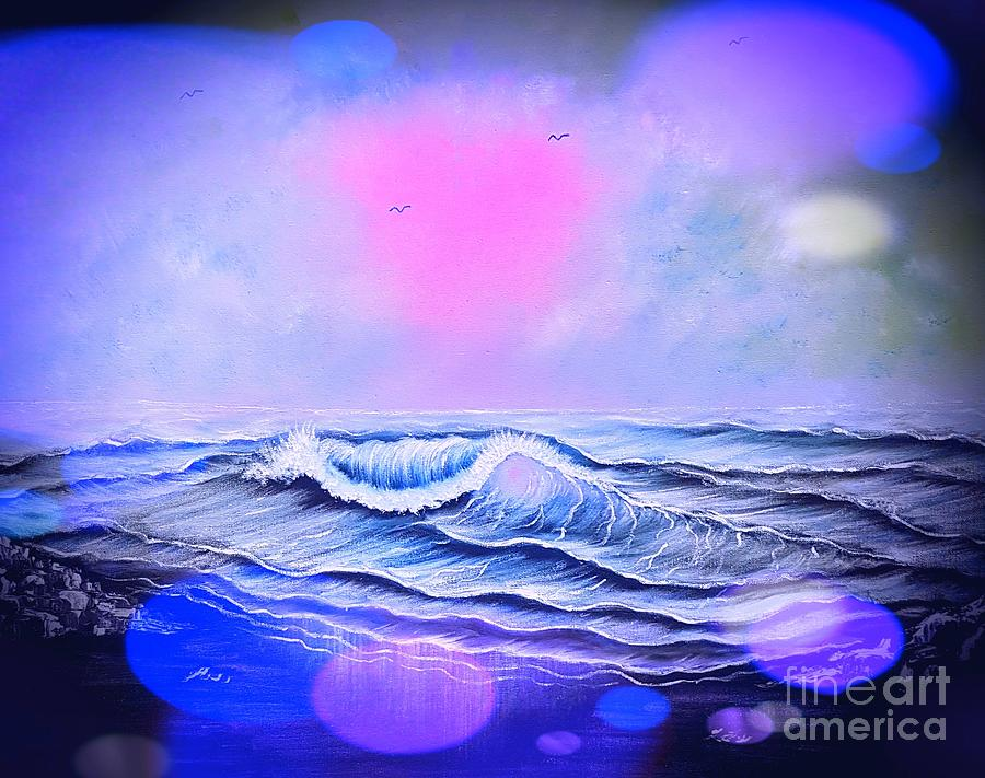 Blue Painting - Glowing Blue Beauty Seascape Enchantment In Stardust  by Angela Whitehouse
