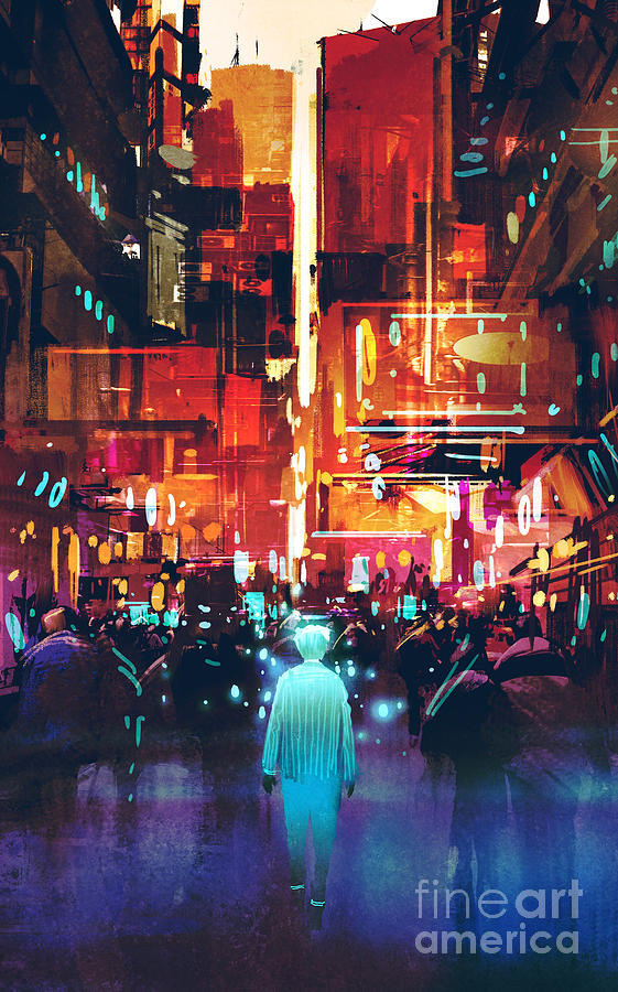 City Digital Art - Glowing Blue Man Walking In Futuristic by Tithi Luadthong