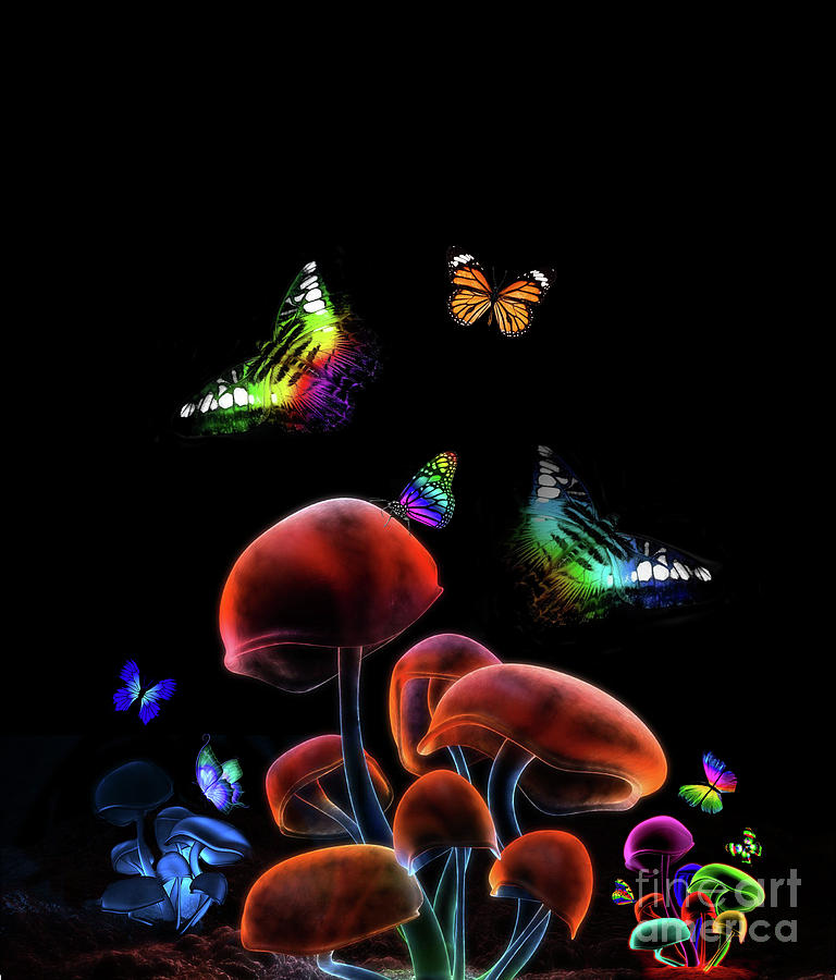 Glowing Mushrooms Forest Mixed Media By Johan Botha