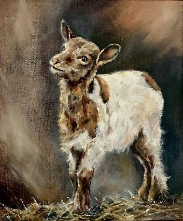 Goat On Hay Painting