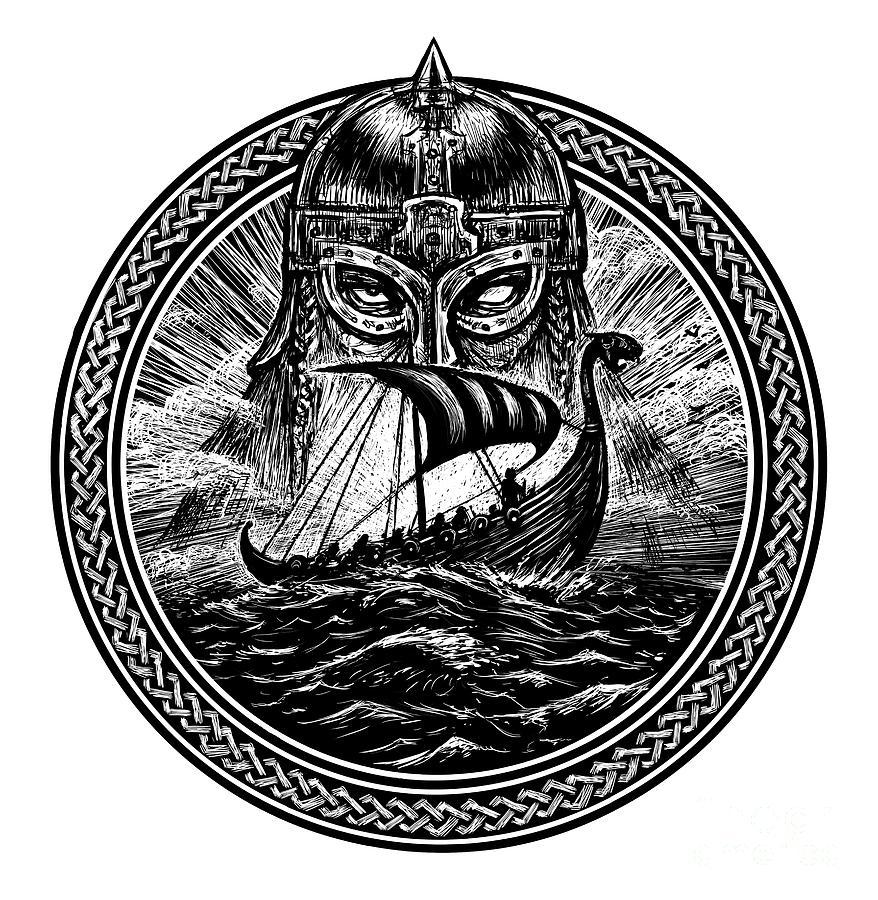 Symbol Digital Art - God Odin Storm Sea And Drakkar by Barandash Karandashich
