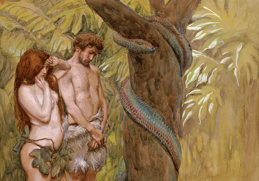 James Tissot Painting - Gods Curse, Adam And Eve by James Tissot