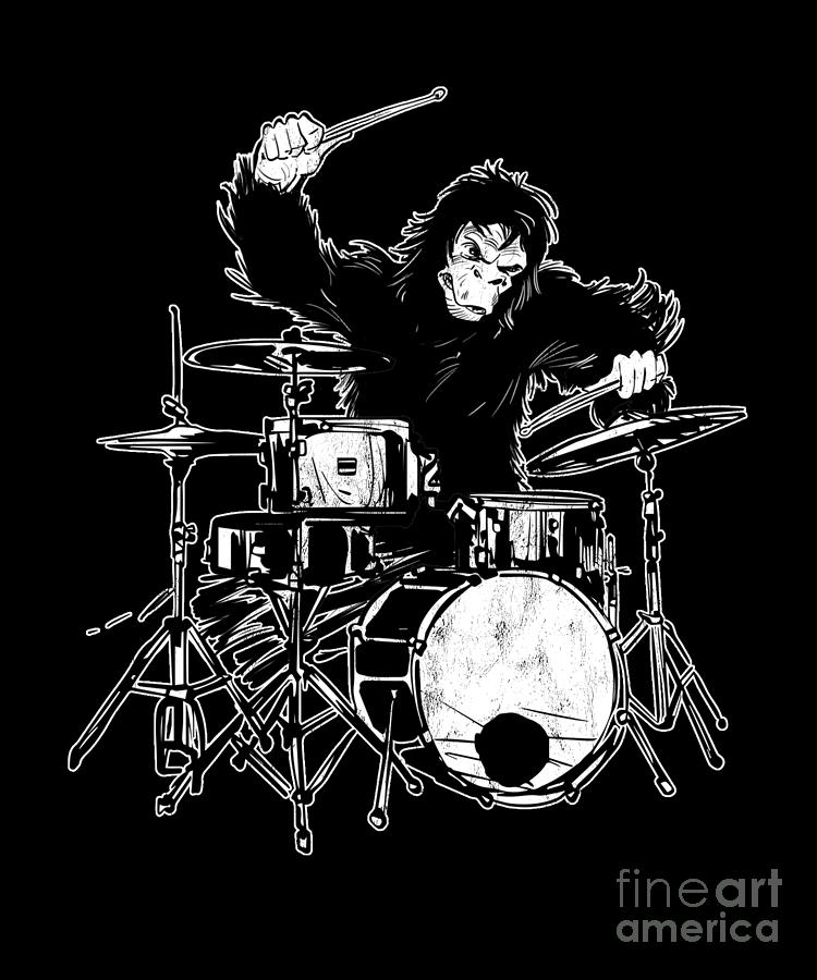 Gift Drawing - Going Ape On Drums Novelty Shirt 2001 Space Odyssey Style by Noirty Designs