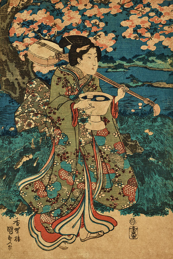 Party Painting - Going To A Cherry Blossom Viewing Party by Utagawa Kunisada