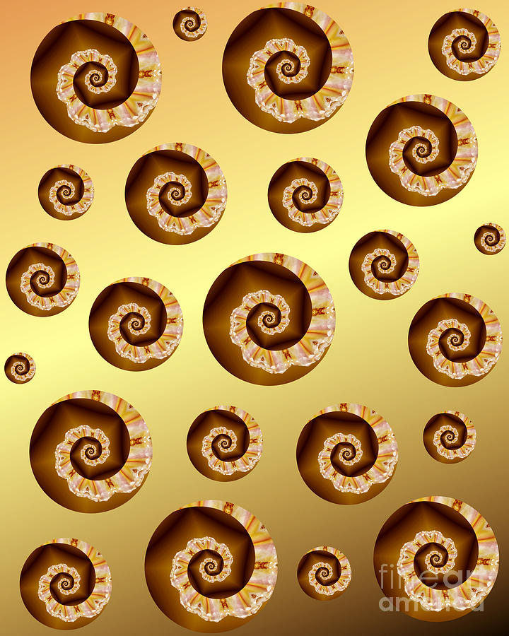 Gold And Amber Spirals by Rachel Hannah