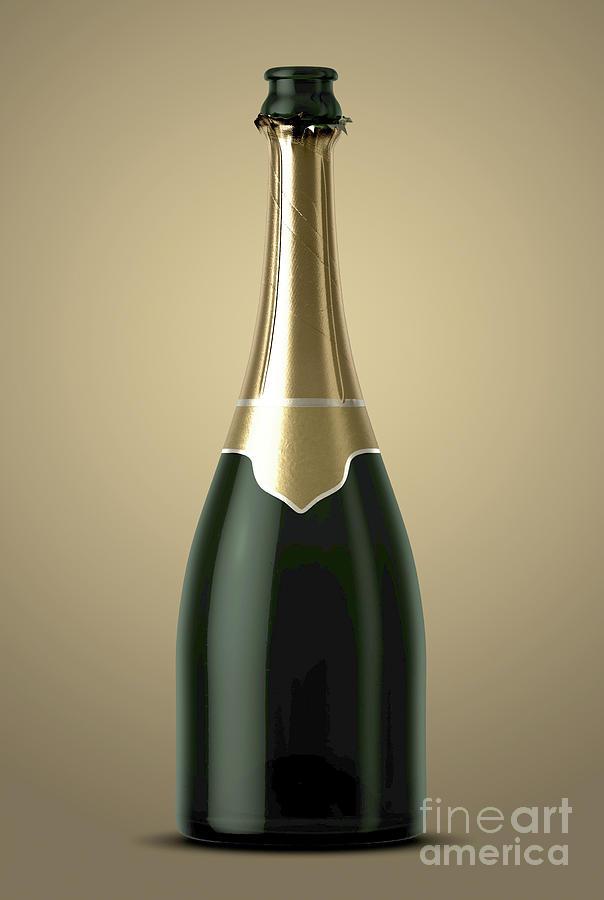Sparkling Wine Digital Art - Gold Champagne Bottle Open Neck by Allan Swart