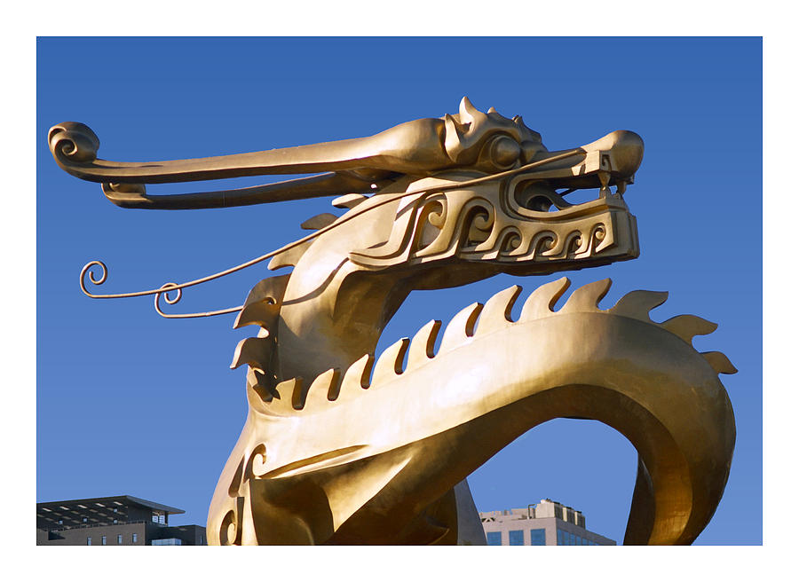 Gold Mixed Media - Gold Chinese dragon sculpture by Steve Clarke
