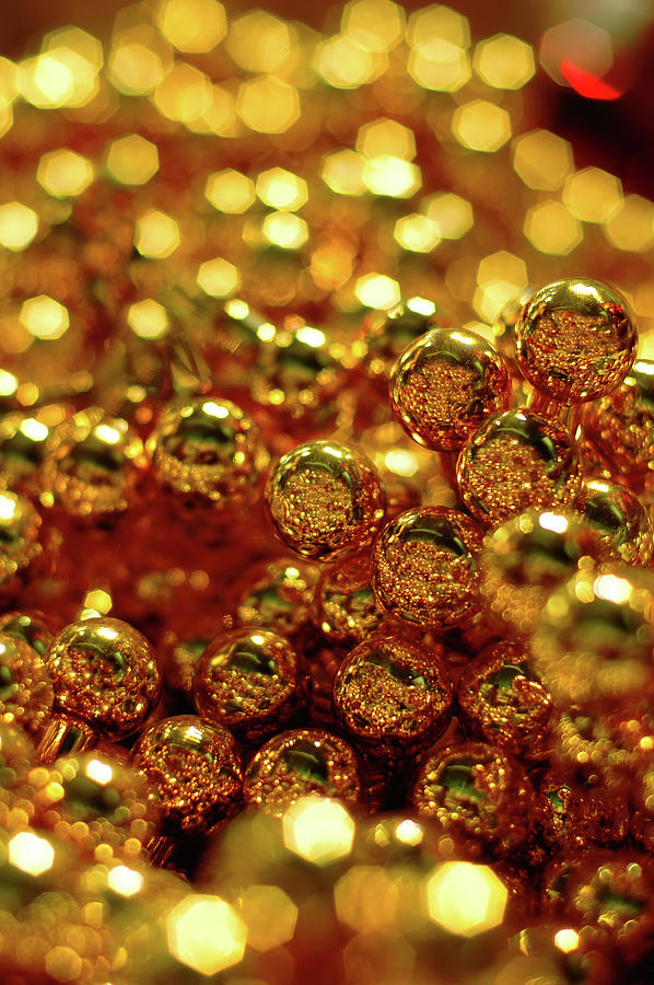 Gold Christmas Balls Photograph by Naphtalina