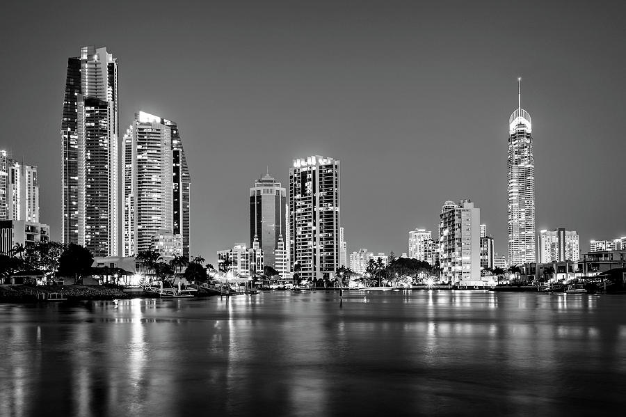 Gold Coast Cityscape in Black and White by Catherine Reading