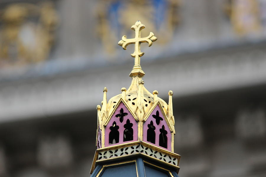 Gold Photograph - Gold Cross and Crown by Laura Smith