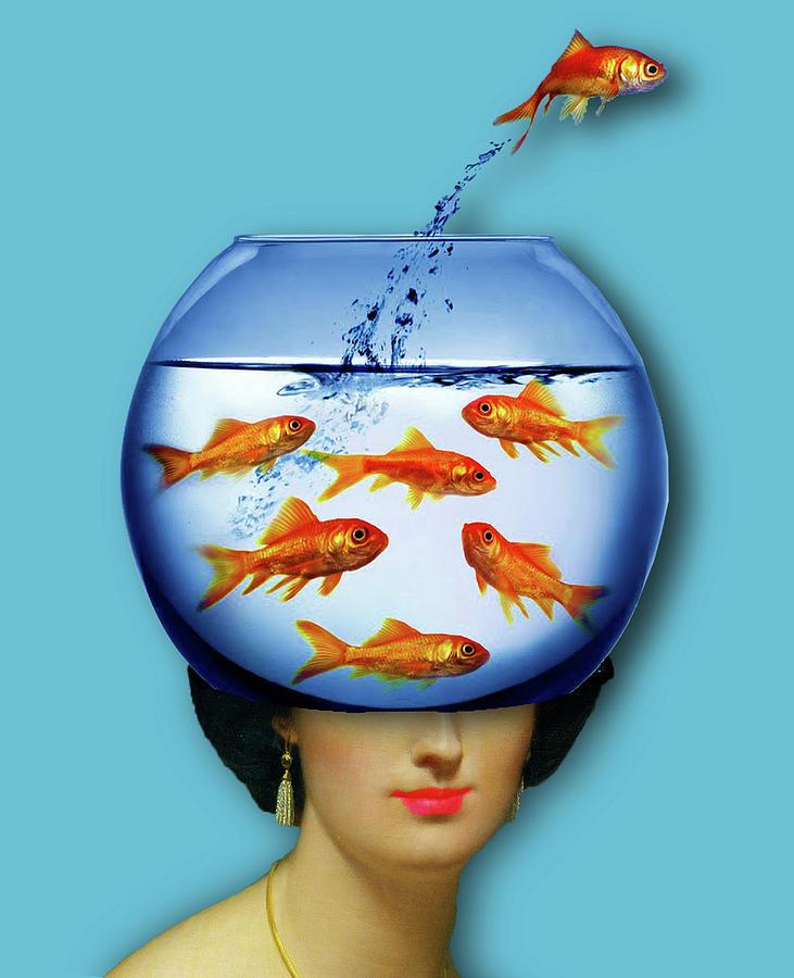 Gold Fish Bowl Woman Surreal Painting