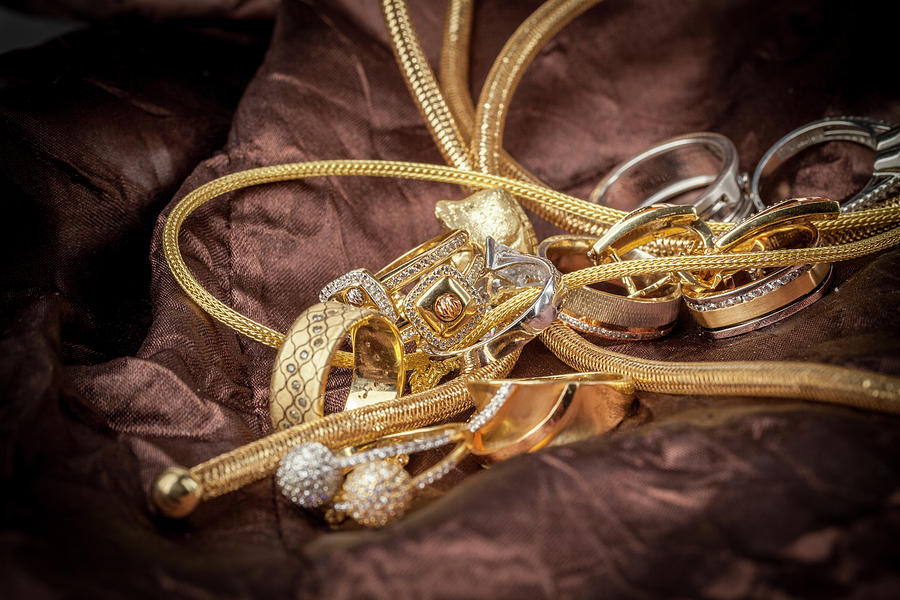 Gold Photograph - Gold Jewelry Close Up by Dejan Jekic