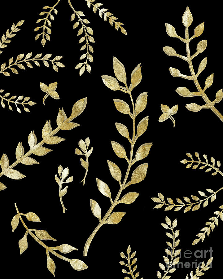 Gold Leaves Pattern 1 Drawing Decor Art Painting By Anitas And Bellas Art