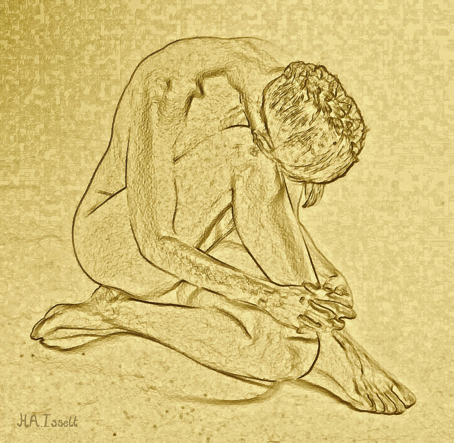 Gold Pose woman Sitting by Humphrey Isselt