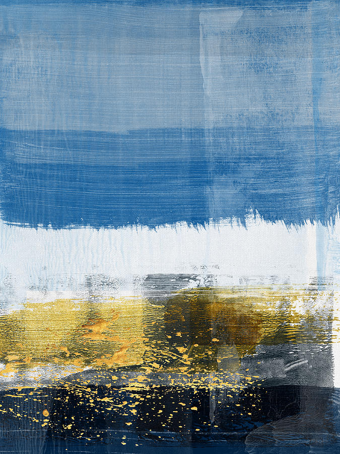 Line Painting - Gold Splash And Blue Abstract Study by Naxart Studio