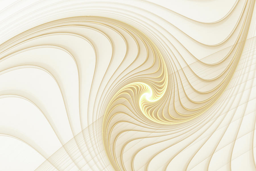 Golden and White Spiral Abstract by Matthias Hauser