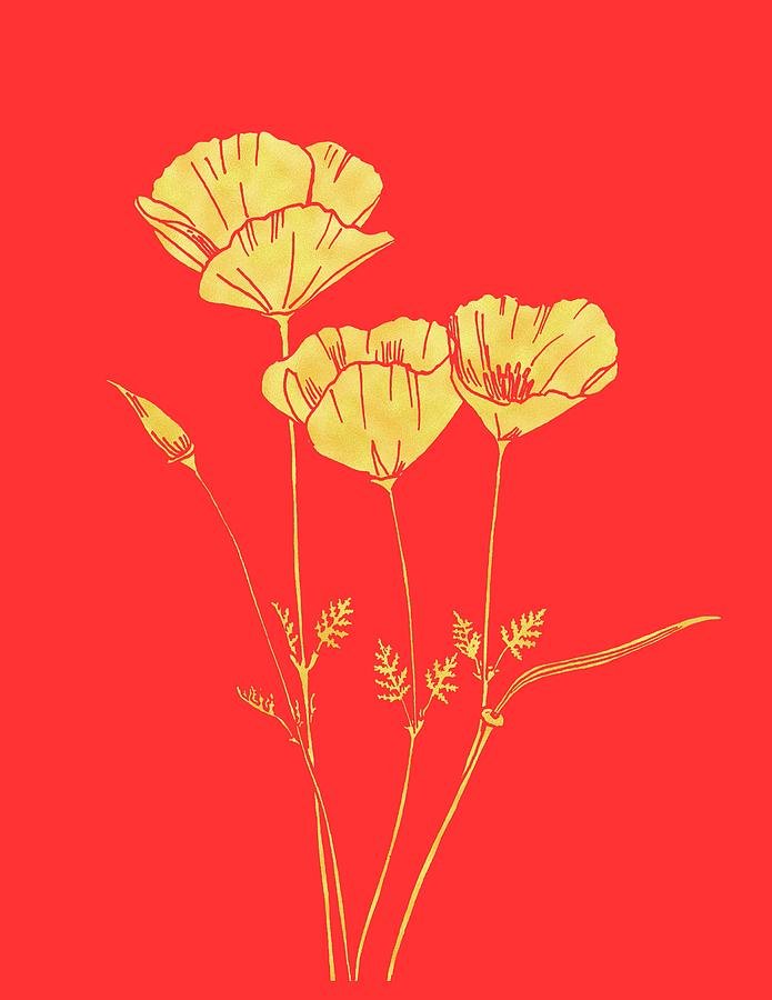 California Painting - Golden California Poppy by Masha Batkova