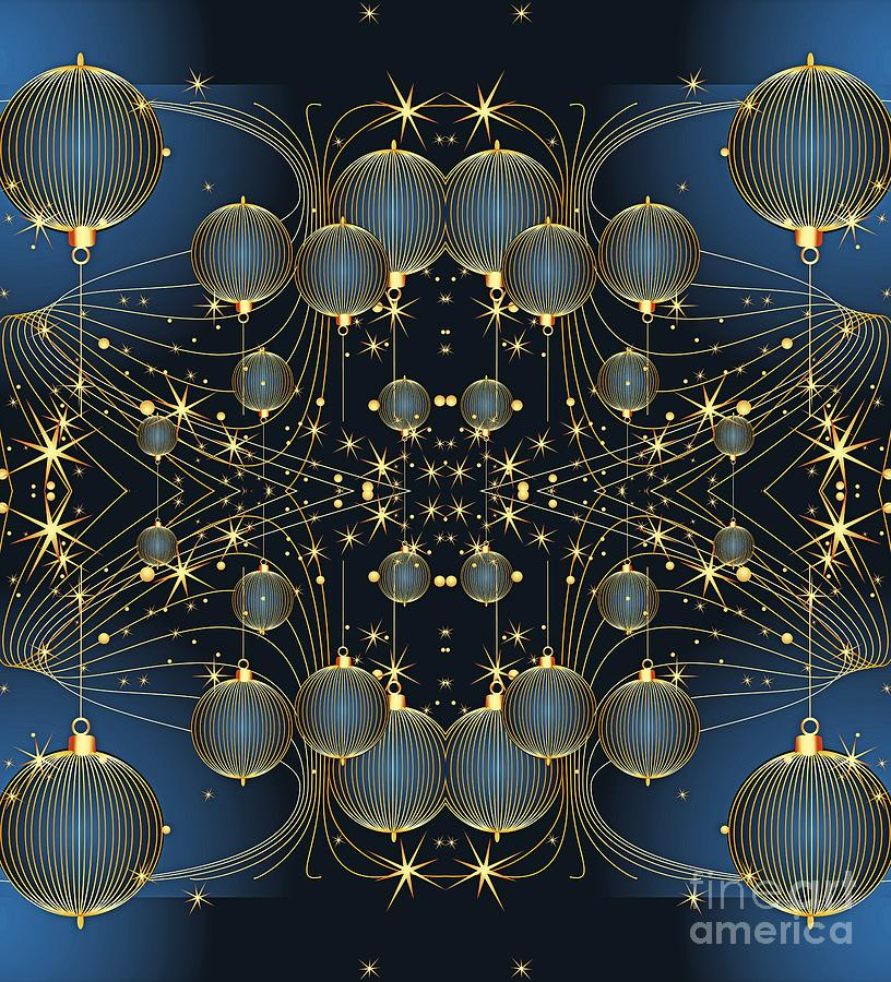Golden Christmas Ornaments on Midnight Blue by Rose Santuci-Sofranko