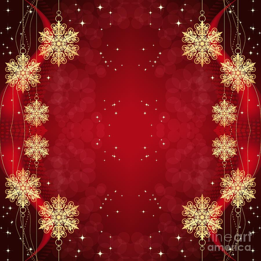Golden Christmas Snowflakes and Stars Ornaments on Red by Rose Santuci-Sofranko