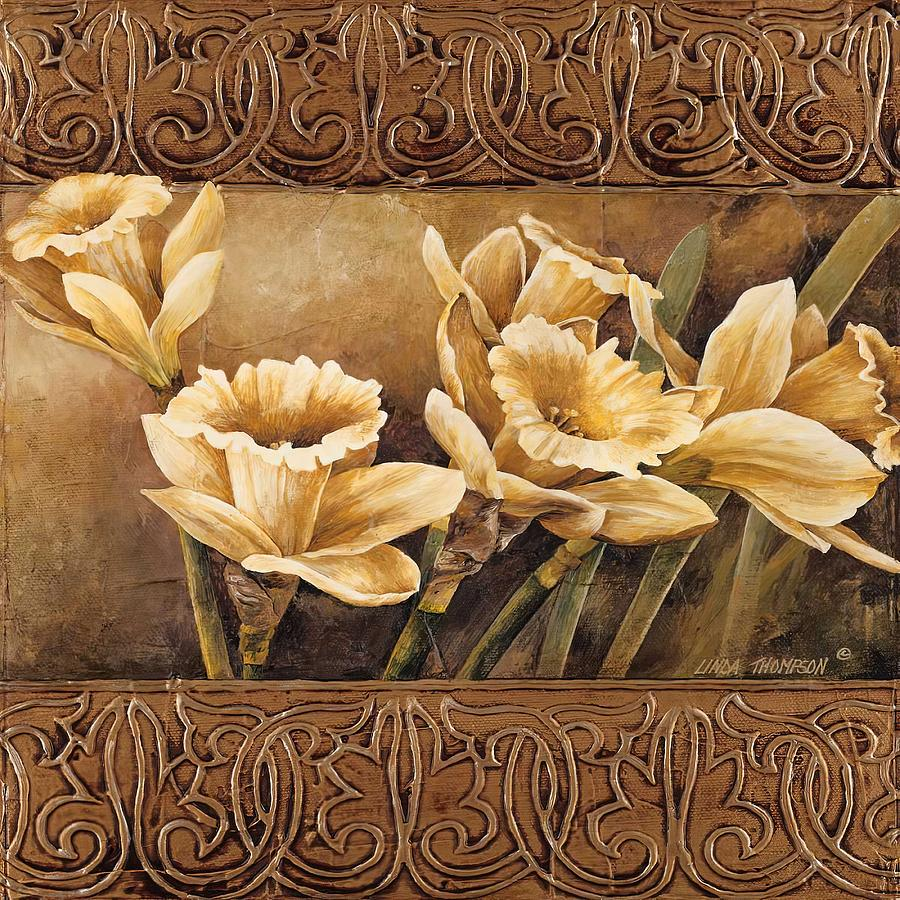 Floral Painting -  Golden Daffodils II    by Linda Thompson