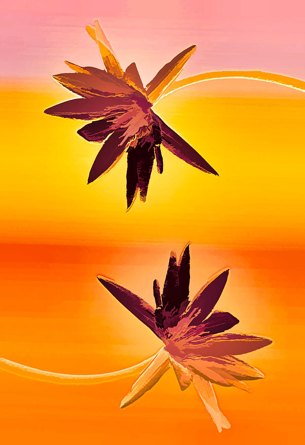 Water Lily Mixed Media - Golden Duo Water Lilies by Rosalie Scanlon